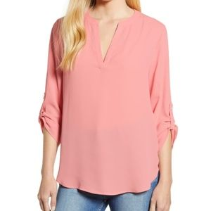 Everleigh roll tab sleeve tunic blouse peach pink